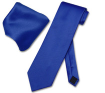 Royal Blue Necktie And Royal Blue Handkerchief Set For Men
