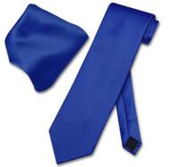Vesuvio Napoli Solid ROYAL BLUE Color NeckTie & Handkerchief Men's Neck Tie Set