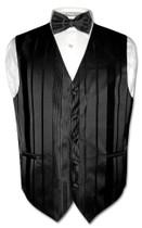 Mens Dress Vest BowTie Black Color Woven Striped Bow Tie Set