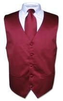 Mens Burgundy Tie | Mens Dress Vest And Neck Tie Set
