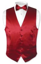 Dark Red Vest | Dark Red Bow Tie | Silk Dark Red Vest Bow Tie Set