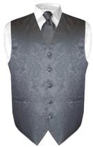 Mens Paisley Design Dress Vest & NeckTie Charcoal Grey Neck Tie Set
