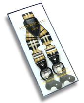 Men's PLAID Design BLACK YELLOW WHITE SUSPENDERS Y Shape Elastic Buttons & Clips
