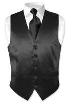 Black Vest | Black NeckTie | Silk Solid Black Color Vest Neck Tie Set
