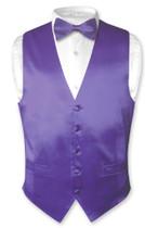 Biagio Mens Silk Dress Vest & Bow Tie Solid Purple Color BowTie Set