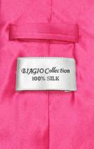 Biagio 100% Silk NeckTie Extra Long Solid Hot Pink Fuchsia Mens Tie