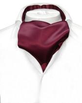 Vesuvio Napoli ASCOT Solid BURGUNDY Color Cravat Men's Neck Tie