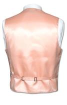 Men's Paisley Design Dress Vest & NeckTie PEACH Color Neck Tie Set