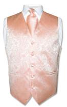 Peach Vest | Mens Paisley Design Dress Vest & Neck Tie