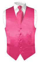 Biagio Men's Solid HOT PINK FUCHSIA BAMBOO SILK Dress Vest Neck Tie Set size XL