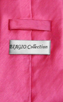 Biagio Men's Solid HOT PINK FUCHSIA BAMBOO SILK Dress Vest Neck Tie Set sz Large