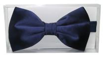 100% SILK BOWTIE Solid NAVY BLUE Color Men's Bow Tie for Tuxedo or Suit