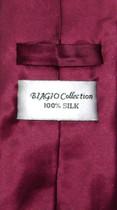 Biagio Silk Solid Burgundy Color NeckTie Handkerchief Mens Tie Set