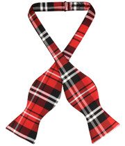 Vesuvio Napoli Self Tie BowTie Black Red White Plaid Mens Bow Tie