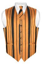 Mens Dress Vest NeckTie Gold & Black Color Woven Striped Neck Tie Set