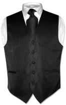 Mens Dress Vest & NeckTie Black Color Vertical Striped Neck Tie Set