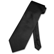 Mens Dress Vest & NeckTie Black Color Vertical Striped Neck Tie Set
