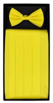 SILK Cumberbund & BowTie Solid GOLDEN YELLOW Color Men's Cummerbund Bow Tie Set