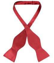 Biagio Self Tie Bow Tie Solid Rose Red Color Mens BowTie