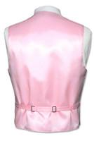 Men's Paisley Design Dress Vest & NeckTie PINK Color Neck Tie Set for Suit Tux