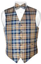 Men's Plaid Design Dress Vest & BOWTie Navy Brown White BOW Tie Set