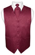 Men's Paisley Design Dress Vest & NeckTie BURGUNDY Color Neck Tie Set