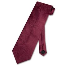 Vesuvio Napoli NeckTie BURGUNDY Color Paisley Design Men's Neck Tie