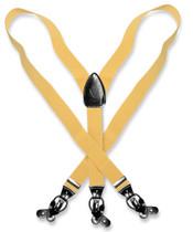Men's Solid GOLD Color SUSPENDERS Y Shape Back Elastic Button & Clip Convertible
