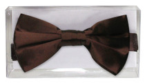 100% SILK BOWTIE Solid CHOCOLATE BROWN Color Men's Bow Tie for Tuxedo or Suit