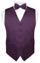 Mens Paisley Design Dress Vest & Bow Tie Dark Purple Color BowTie Set