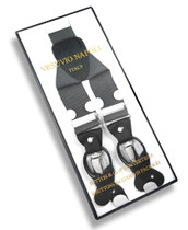 Mens Charcoal Grey Suspenders Y Shape Back Button & Clip Convertible