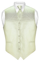 Mens Dress Vest NeckTie Sage Green Neck Tie Horizontal Stripe Set