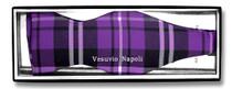 Vesuvio Napoli SELF TIE BowTie Black Purple White Color PLAID Men's Bow Tie