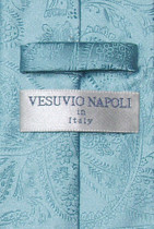 Vesuvio Napoli Turquoise Blue PAISLEY NeckTie & Handkerchief Matching Tie Set