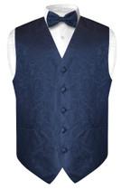 Mens Paisley Design Dress Vest & Bow Tie Navy Blue Color BowTie Set
