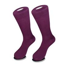 1 Pair of Biagio Solid Dark PURPLE Color Men's COTTON Dress SOCKS