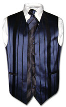 Mens Dress Vest & NeckTie Navy Blue Color Woven Striped Neck Tie Set