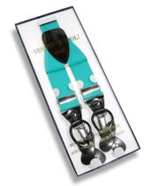 Men's TURQUOISE BLUE SUSPENDERS Y Shape Back Elastic Button & Clip Convertible