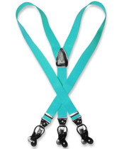 Men's TURQUOISE BLUE SUSPENDERS Y Shape Back Elastic Button & Clip Convertible