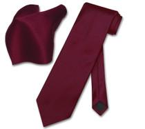 Vesuvio Napoli Solid BURGUNDY Color NeckTie & Handkerchief Men's Neck Tie Set