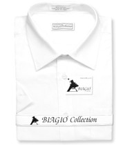 White Color Mens Short Sleeve Dress Shirt | Biagio 100% Cotton Shirt