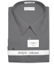 Biagio Mens Cotton Charcoal Grey Dress Shirt with Convertible Cuffs