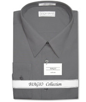Biagio Men's 100% COTTON Solid CHARCOAL GREY Dress Shirt w/ Convertible Cuffs