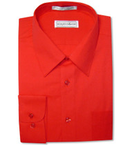 Biagio Men's 100% COTTON Solid RED Color Dress Shirt w/ Convertible Cuffs