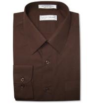 Biagio Men's 100% COTTON Solid CHOCOLATE BROWN Dress Shirt w/ Convertible Cuffs