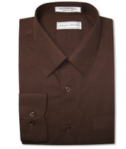 Biagio Men's 100% COTTON Solid CHOCOLATE BROWN Dress Shirt w/ Convertible Cuffs