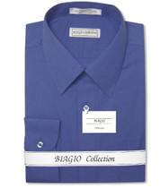 Biagio Men's 100% COTTON Solid ROYAL BLUE Color Dress Shirt w/ Convertible Cuffs