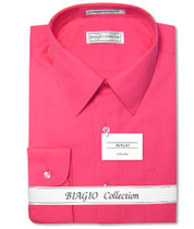 Biagio Men's 100% COTTON Solid HOT PINK FUCHSIA Dress Shirt w/ Convertible Cuffs