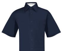 Navy Blue Mens Short Sleeve Dress Shirt | Biagio 100% Cotton Shirt