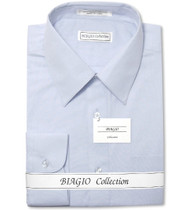 Biagio Mens All Cotton Power Blue Dress Shirt with Convertible Cuffs